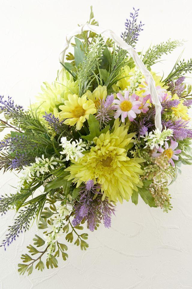 【造花カゴアレンジメント】ガーベラとラベンダーのバスケット