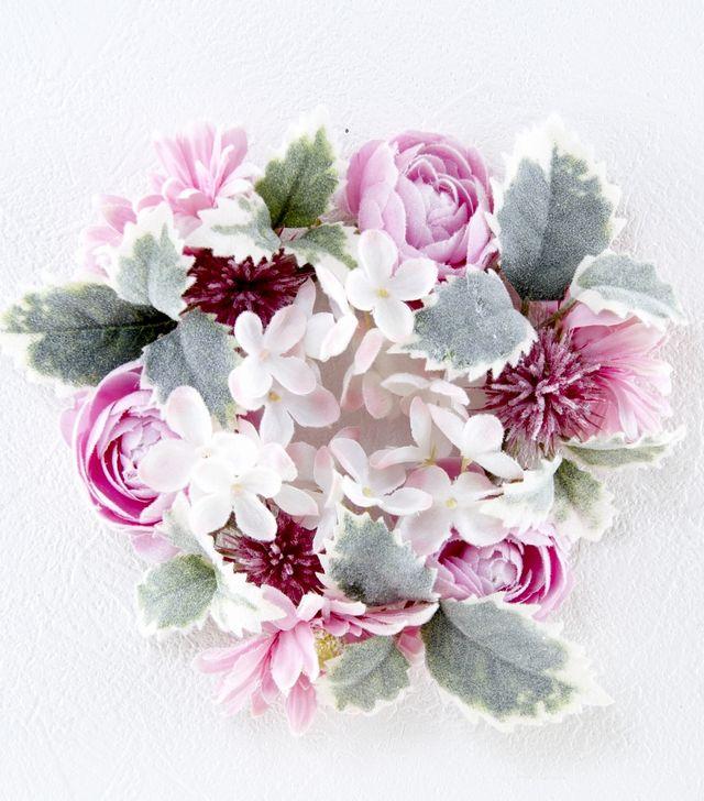 【造花リース】マカロンパステルリースS(ピンク)