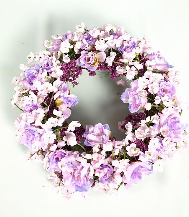 【造花リース】フェアリーローズ・リース(パープル)