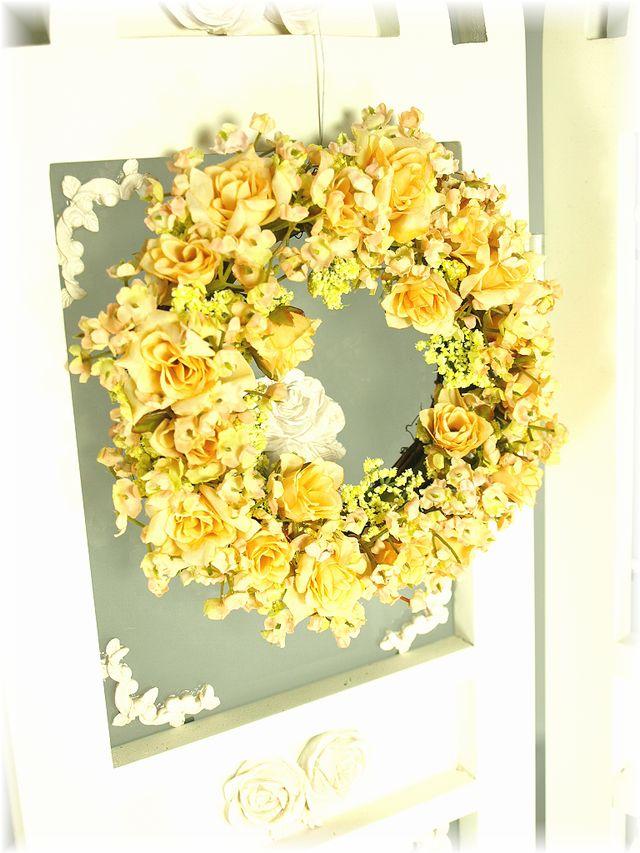 【造花リース】フェアリーーローズ・リース(イエロー)