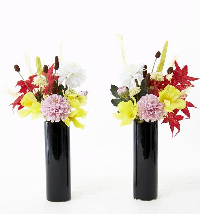 【秋の造花仏花・供花】紅葉&ススキ&マム-左右1対
