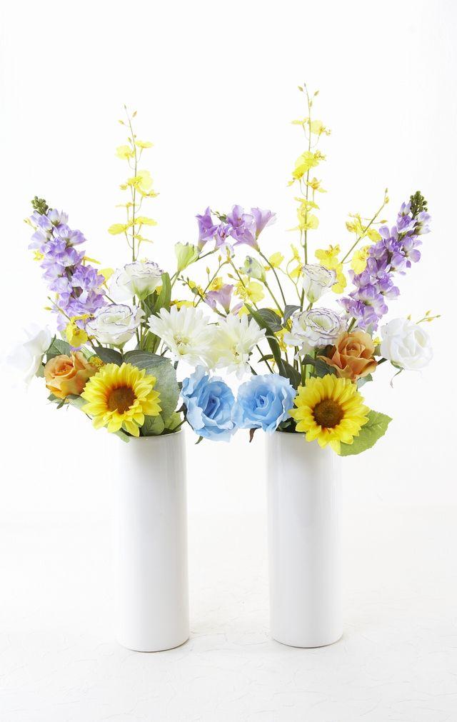 【造花用花器】ホワイトスリムフラワーベースL/白