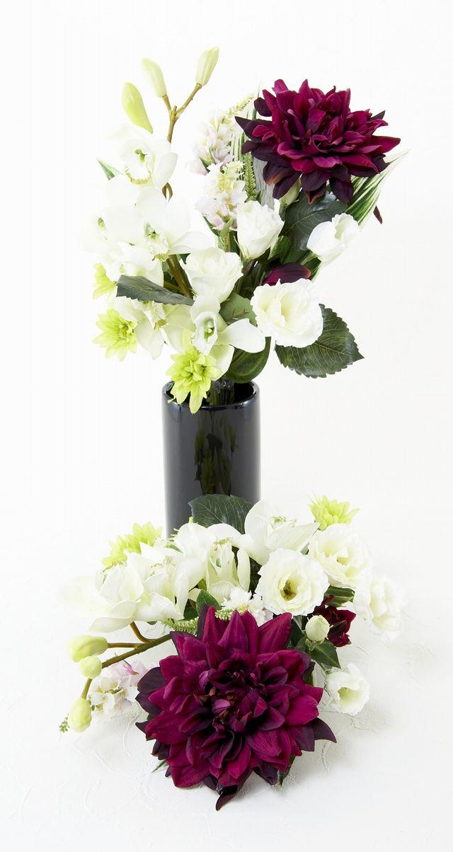 【造花 仏花】シンビジューム&ダリアの和モダン供花(左右1対セット)