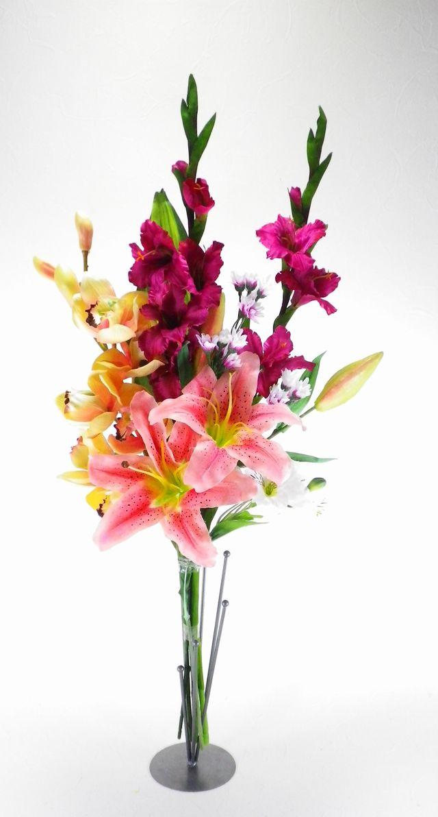 【造花 仏花】ピンクカサブランカとグラジオラスのデザインメモリアル供花-1対