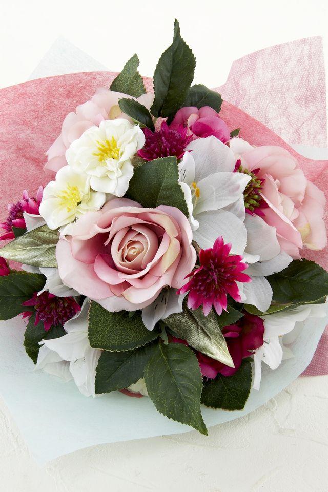 【造花トスブーケ】バラと小花/エレガンスピンク