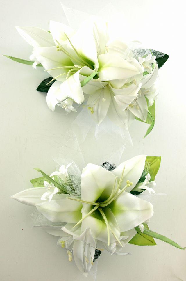 カサブランカのヘッドドレス(ホワイト)(2点セット)