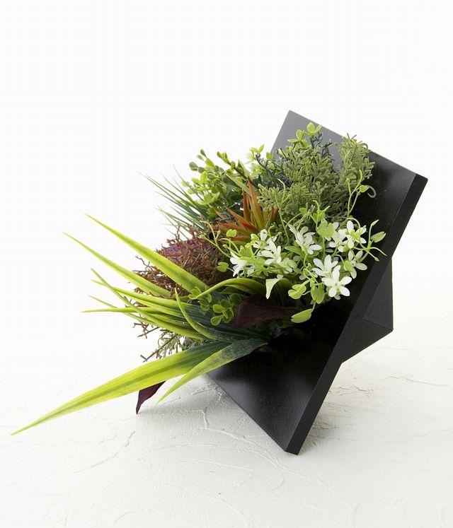 【スクエアフレーム 造花インテリアグリーン】心乃葉-Lサイズ