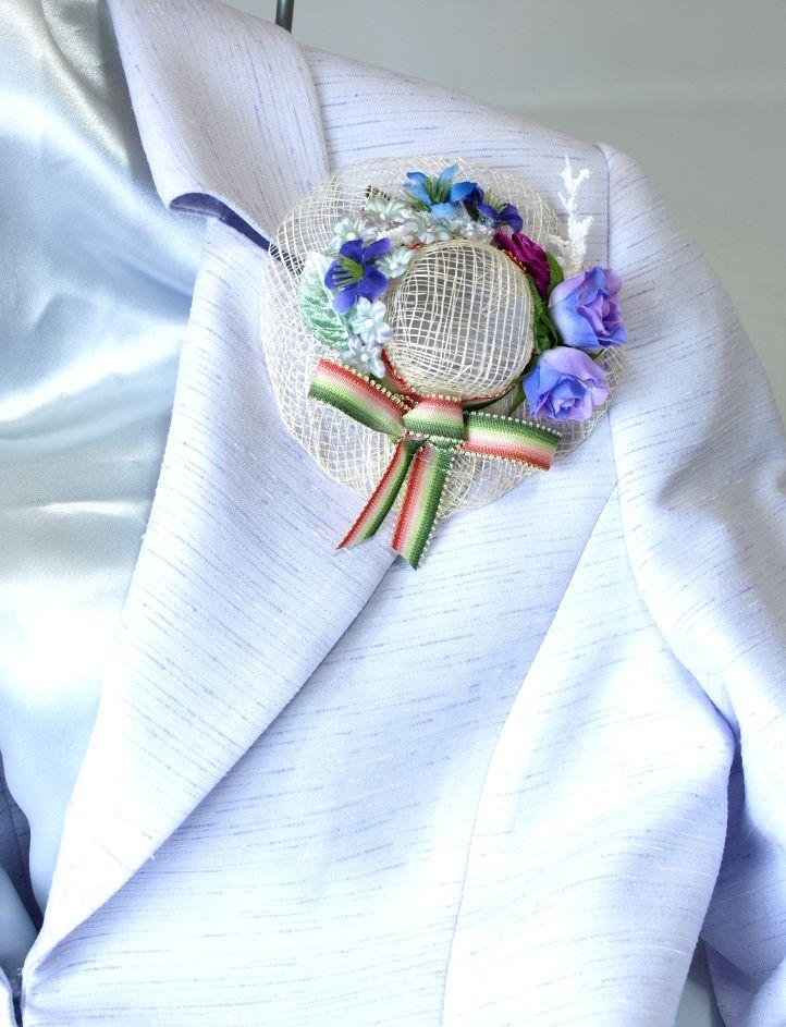 帽子のコサージュ&髪飾り(両用タイプ/パープルミックス)