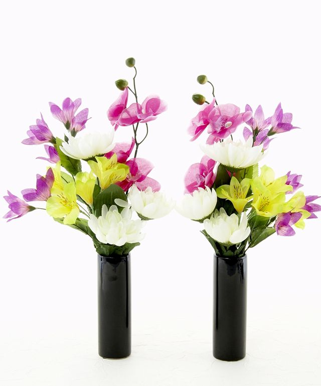 【お墓・仏壇用の造花 供花】菊&アルストロメリア&胡蝶蘭のミニ仏花セット(左右1対)
