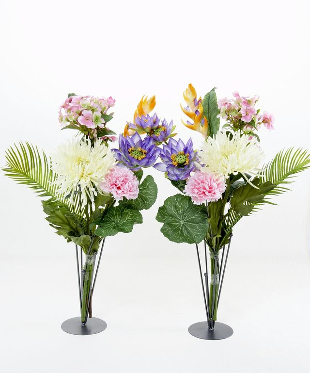 【墓前・仏前・供花】マム&ロータス&カーネーションの供花 (左右1対セット)