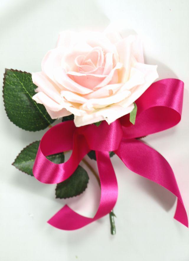 クリスタルローズコサージュ(ピンク)