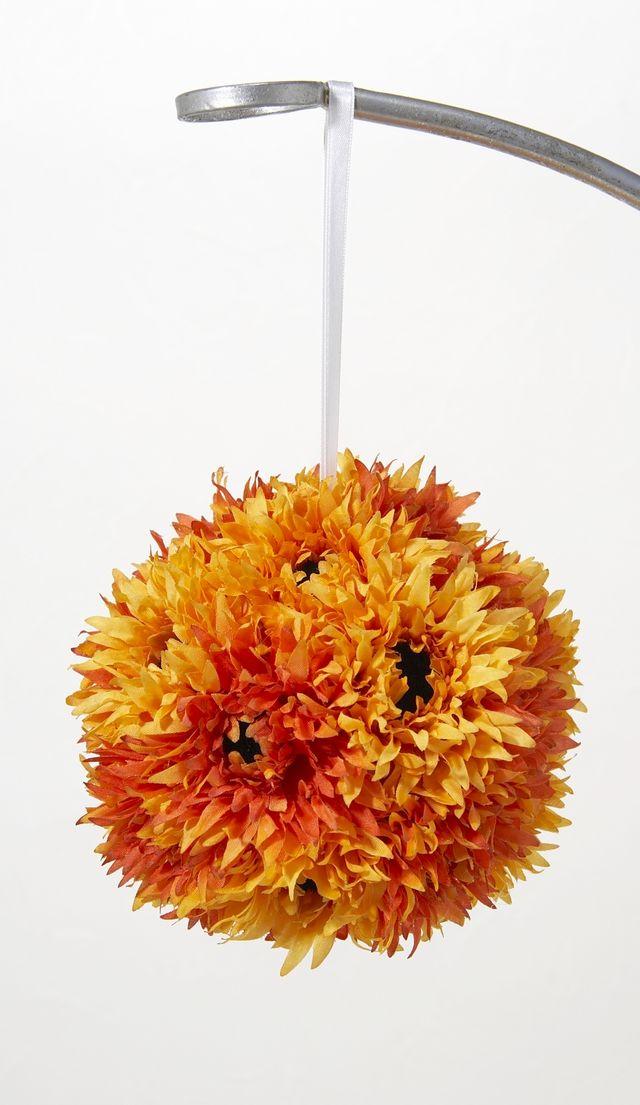 【フラワーボール・造花インテリア】ガーベラボール・オレンジ