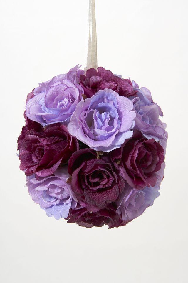 【フラワーボール・造花インテリア】ラブリーローズボール・パープル(Mサイズ)