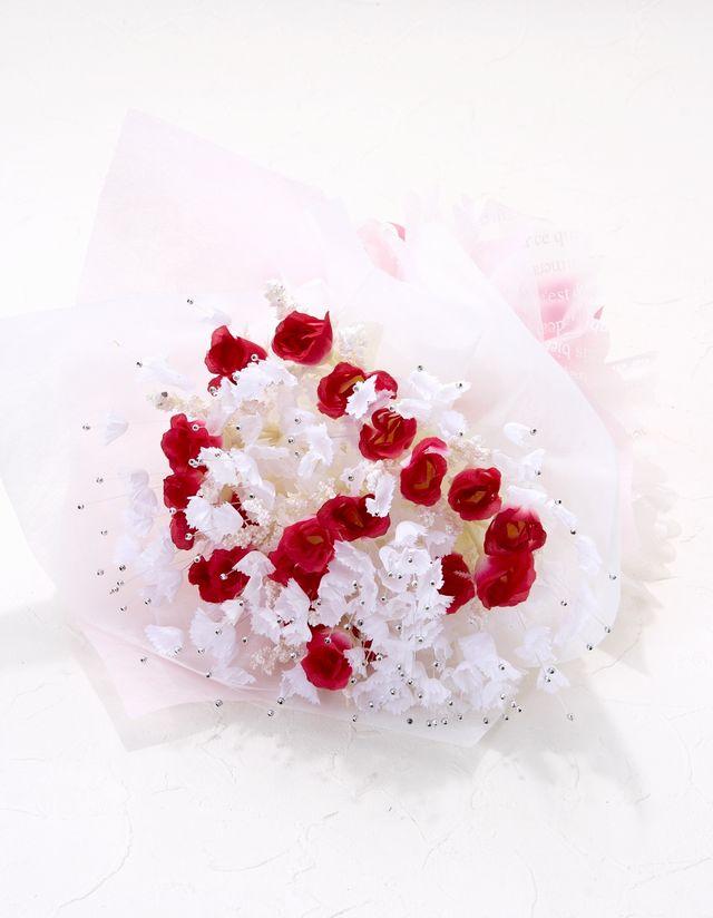 【造花 花束】スィートシュガーローズブーケ(ビューティーレッド)