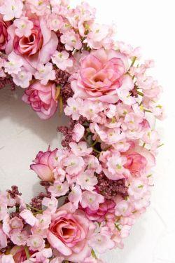 【造花リース】フェアリーーローズ・リース(ピンク)