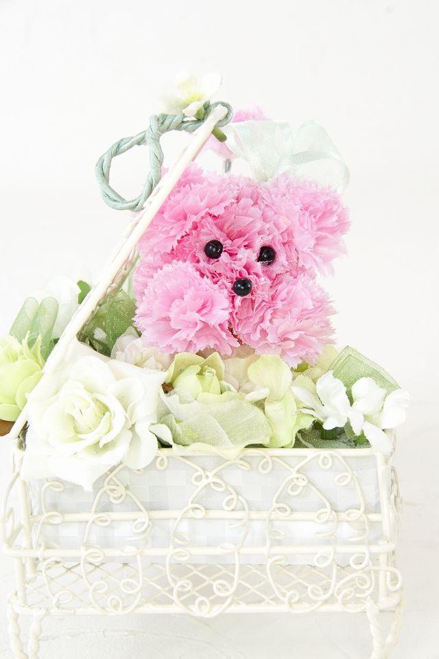 【【ピアノ・プードルアレンジメント】ハーモニー・ホワイトグリーン×ピンク