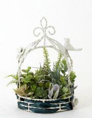 【ホワイトワイヤー鳥かごフレーム 造花インテリアグリーン】bird cage arrangement
